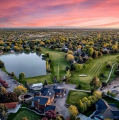 Clubhouse Aerial with Sunset